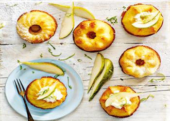 Peren-gembercake met citrusmascarpone