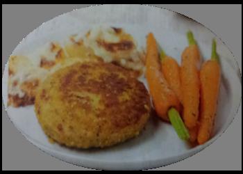Kip-kaasburger met wortelen