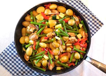 Kippendij spekjes en groenten