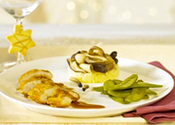 Parelhoen, krieksaus, groenten