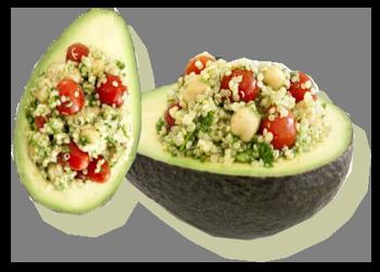 Avocado's gierst & tomaten