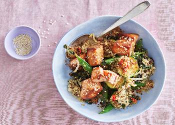 Quinoa en zalm