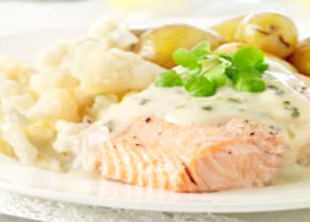 Hoofdgerechten, vis – Zalmhaasje-waterkerssaus