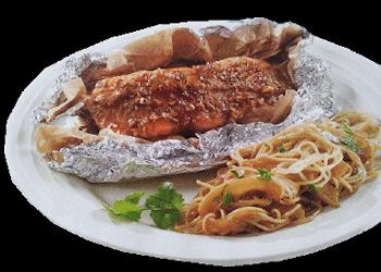 Hoofdgerechten, vis – Zalmpapillot-met-Venkelnoedels