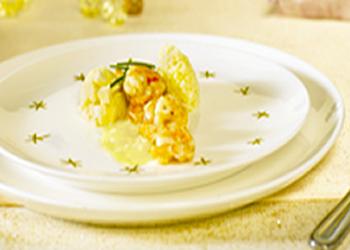 Scampi's met botersaus en couscous met peterseliewortel